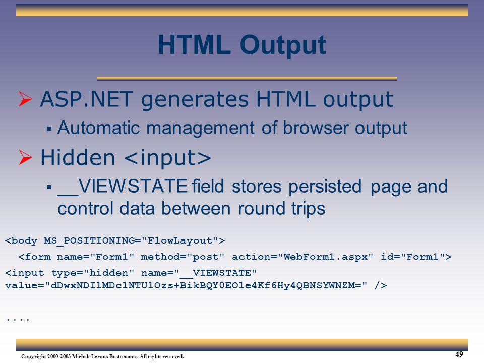 HTML Output ASP.NET generates HTML output Hidden <input>