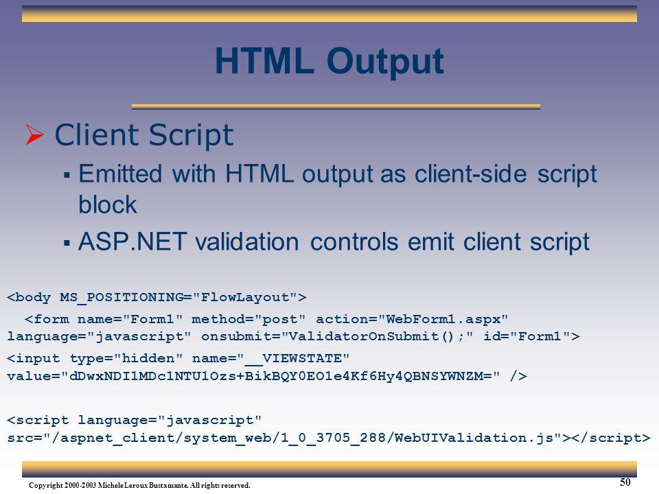 HTML Output Client Script