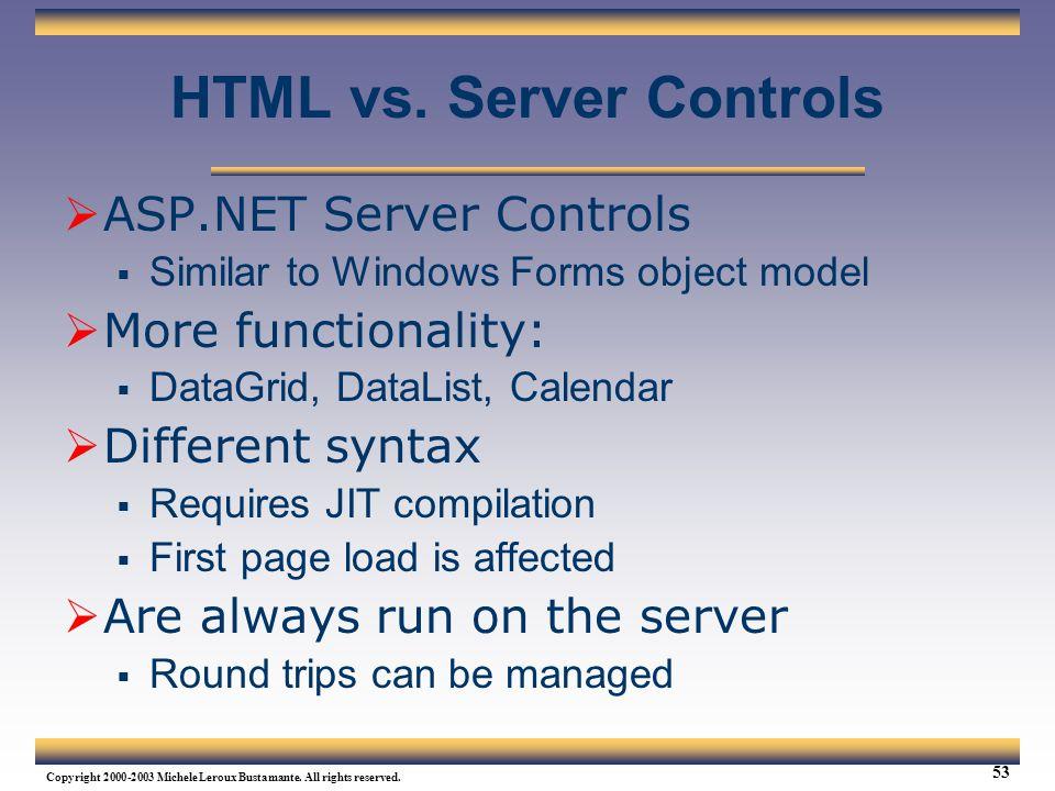 HTML vs. Server Controls