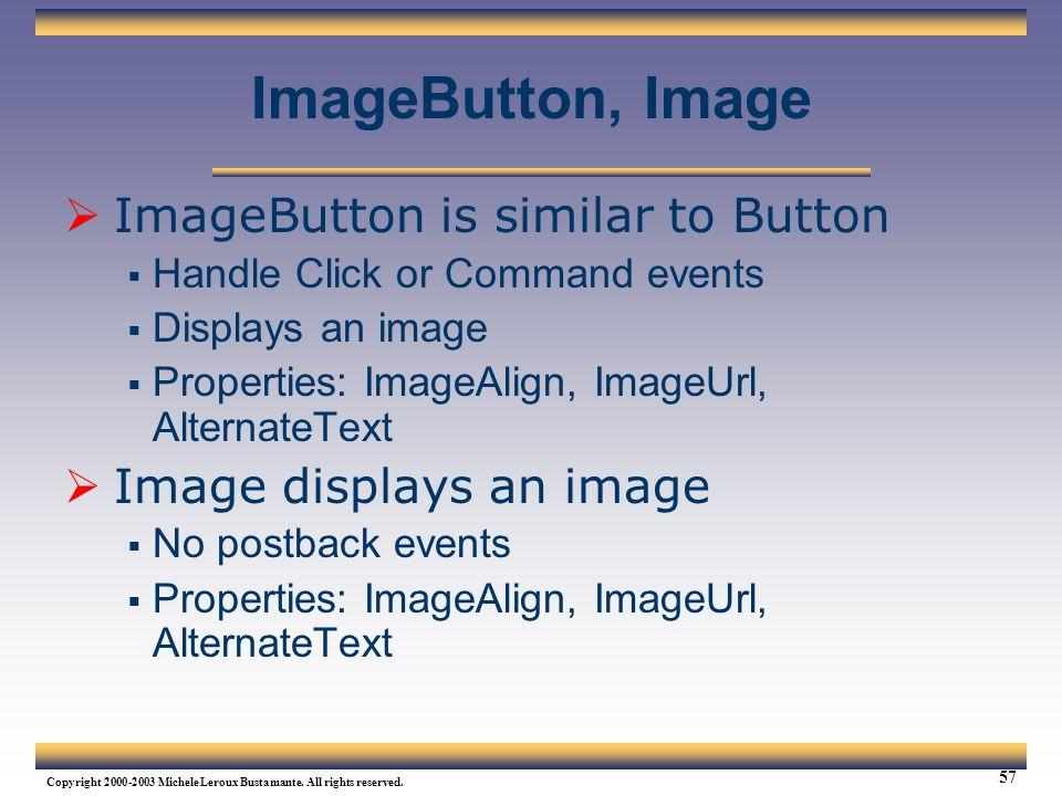 ImageButton, Image ImageButton is similar to Button
