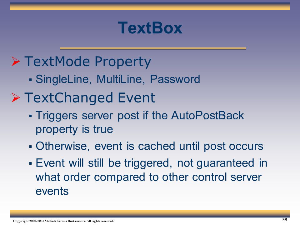 TextBox TextMode Property TextChanged Event
