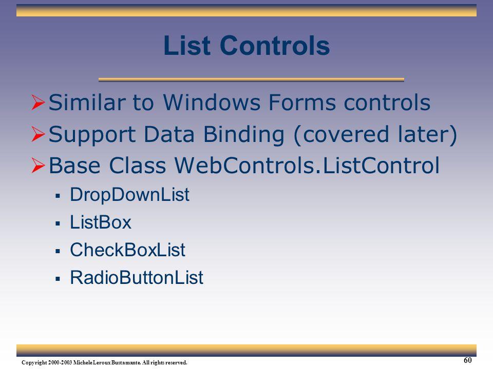 List Controls Similar to Windows Forms controls