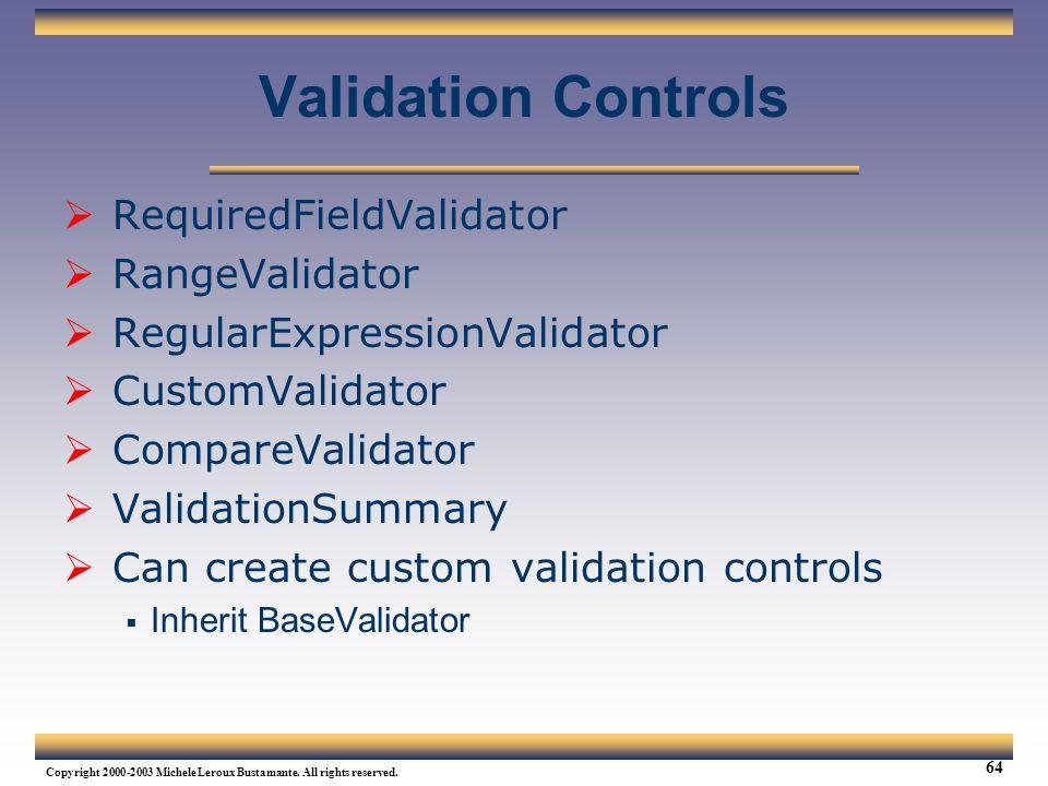 Validation Controls RequiredFieldValidator RangeValidator