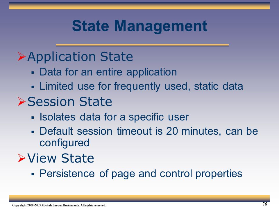 State Management Application State Session State View State