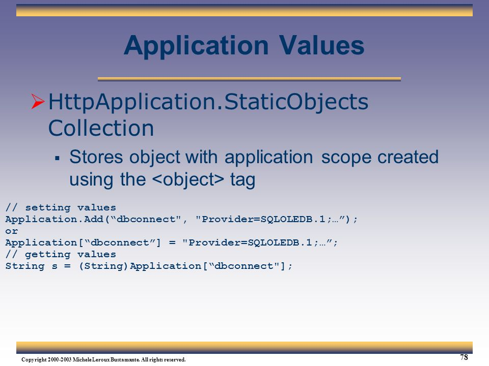 Application Values HttpApplication.StaticObjects Collection