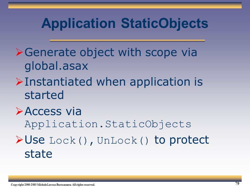 Application StaticObjects
