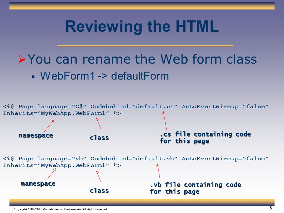 Reviewing the HTML You can rename the Web form class