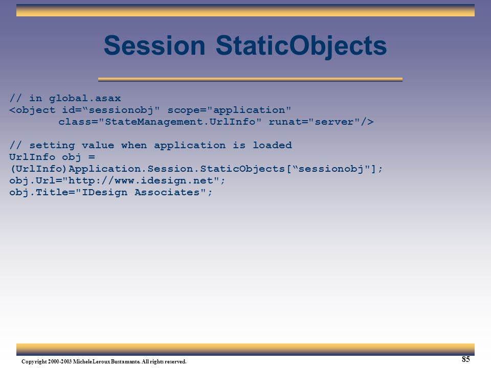 Session StaticObjects