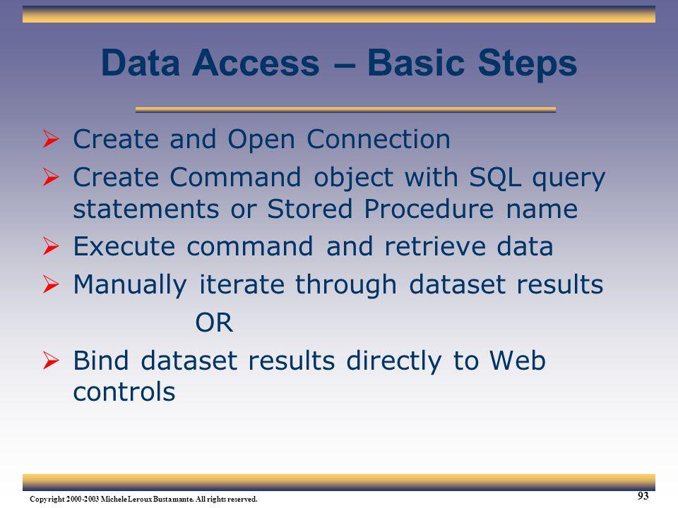 Data Access – Basic Steps
