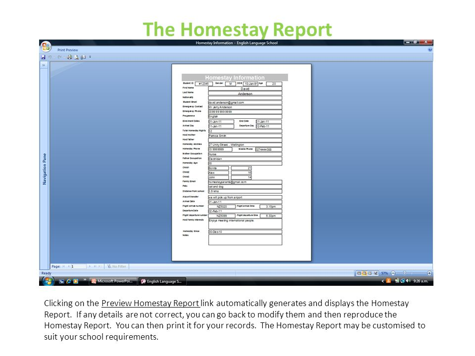 The Homestay Report