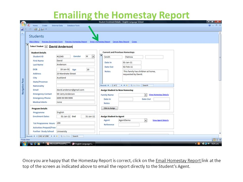 Emailing the Homestay Report