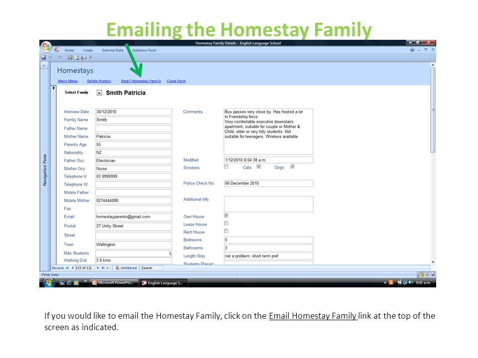 Emailing the Homestay Family