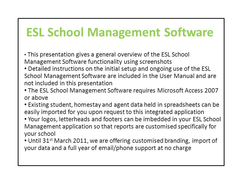 ESL School Management Software