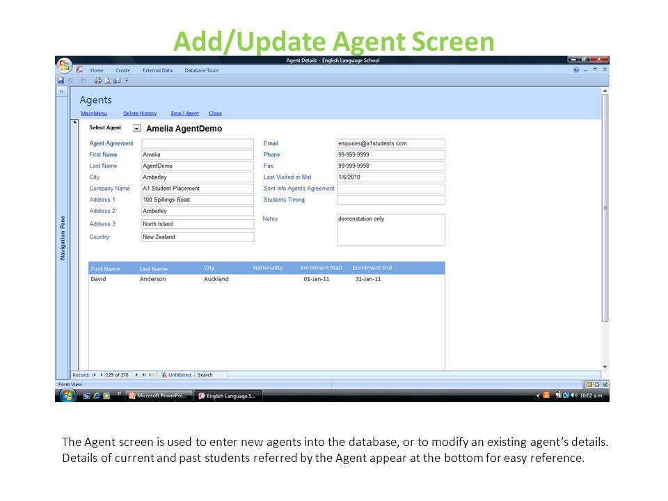 Add/Update Agent Screen