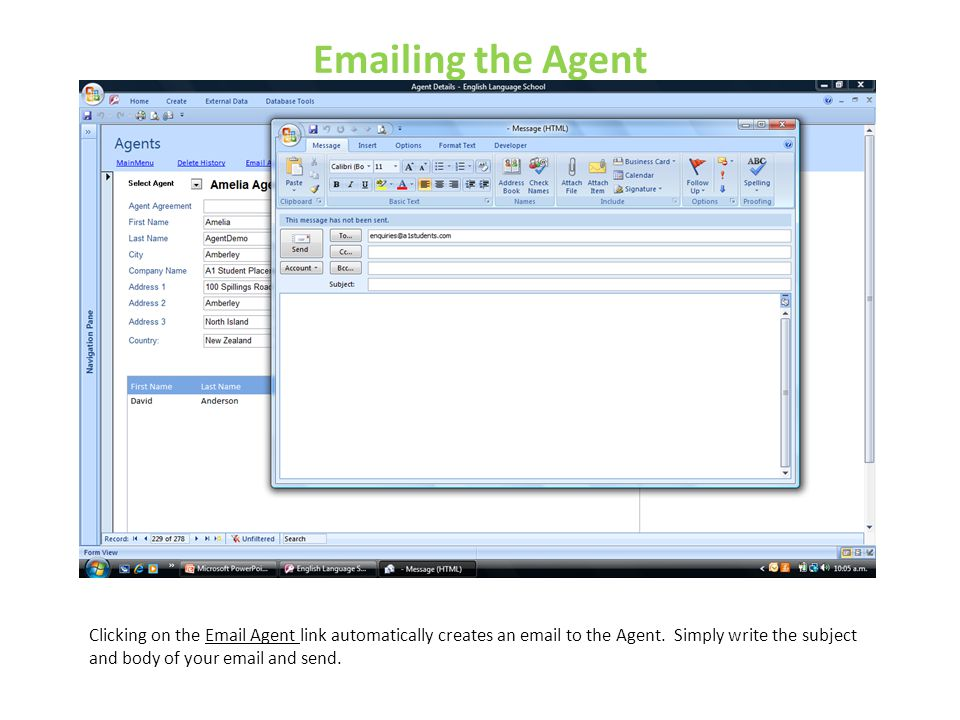 Emailing the Agent