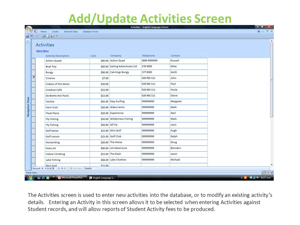 Add/Update Activities Screen