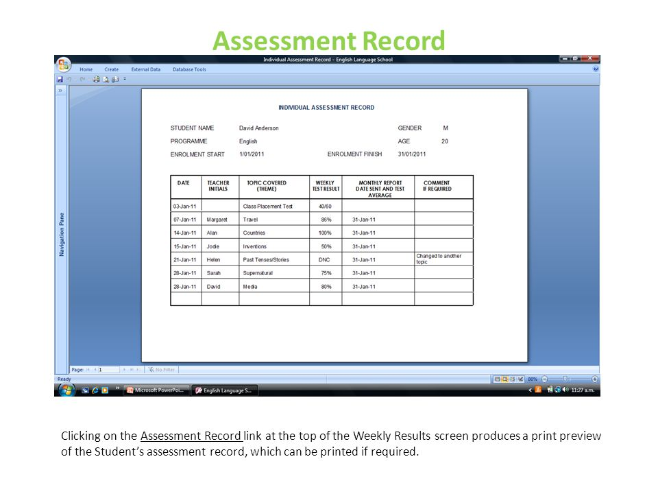 Assessment Record