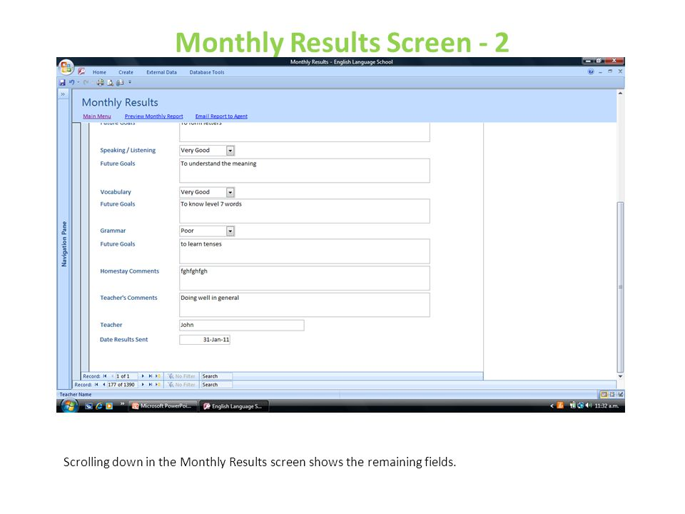 Monthly Results Screen - 2