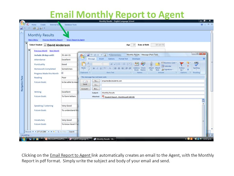 Email Monthly Report to Agent