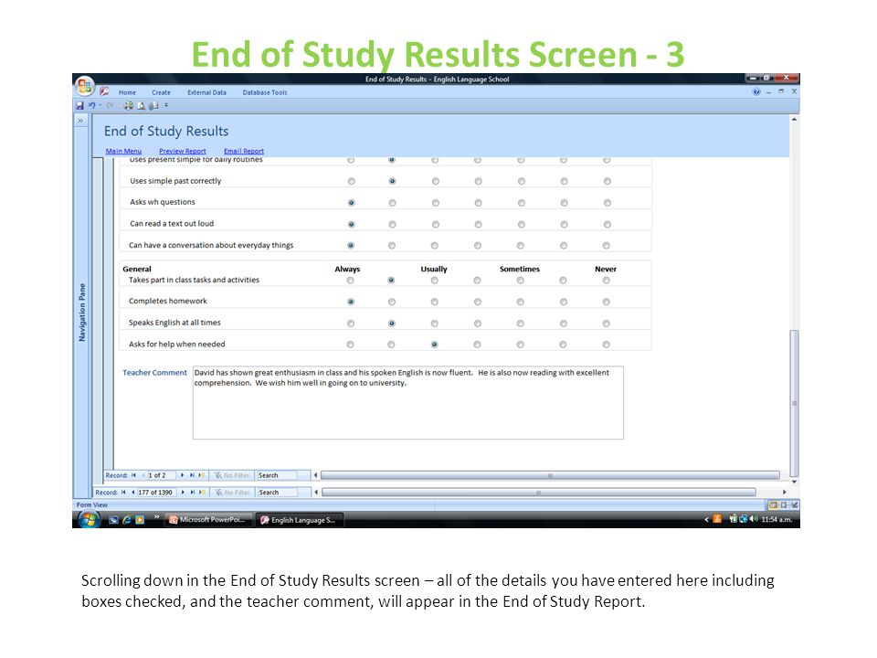 End of Study Results Screen - 3
