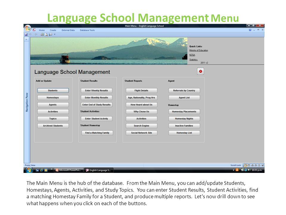 Language School Management Menu
