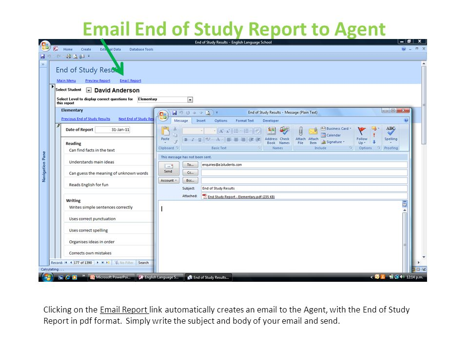Email End of Study Report to Agent
