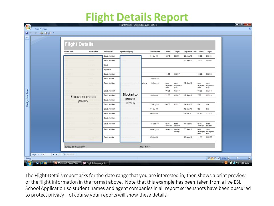 Flight Details Report Blocked to protect privacy. Blocked to protect privacy.