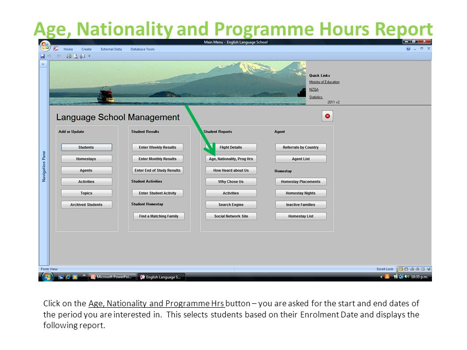 Age, Nationality and Programme Hours Report