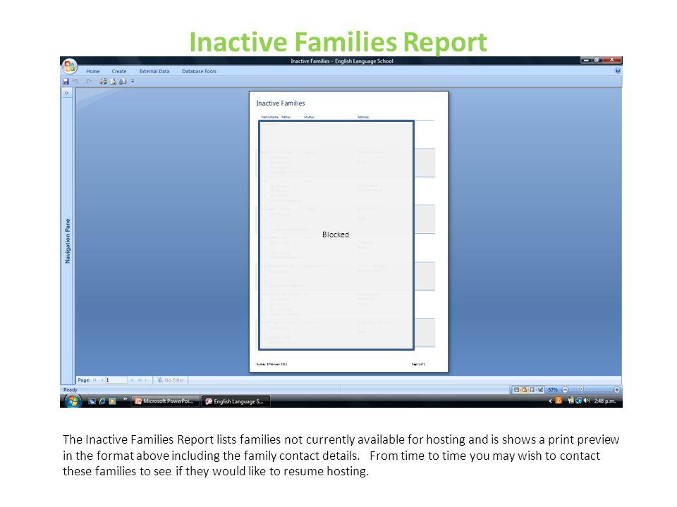 Inactive Families Report