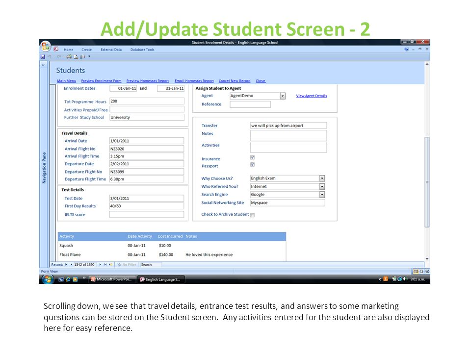 Add/Update Student Screen - 2