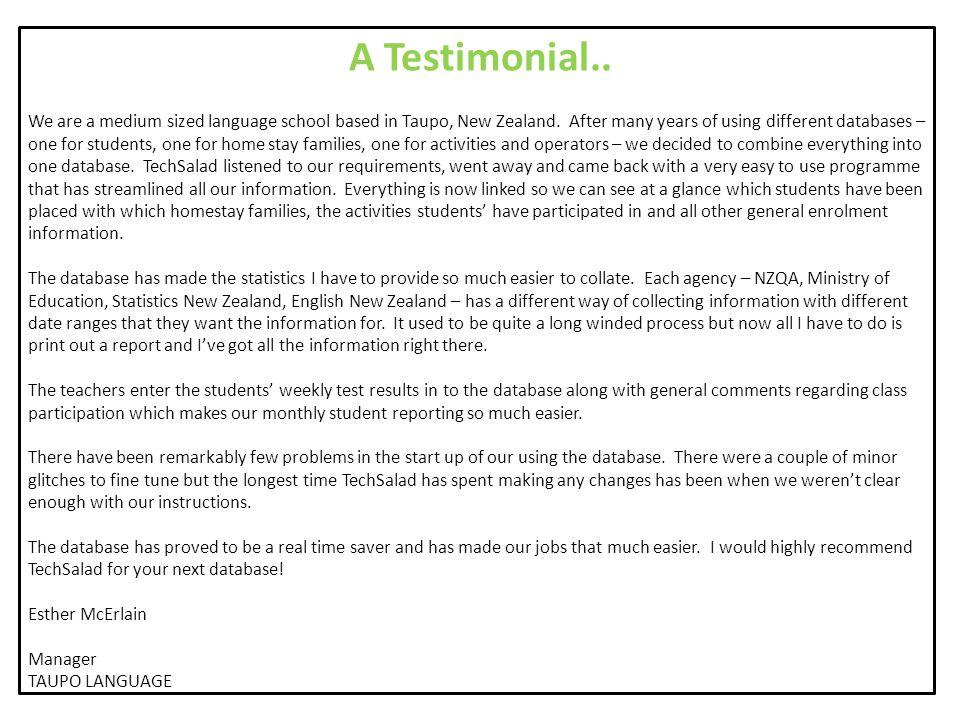 A Testimonial..