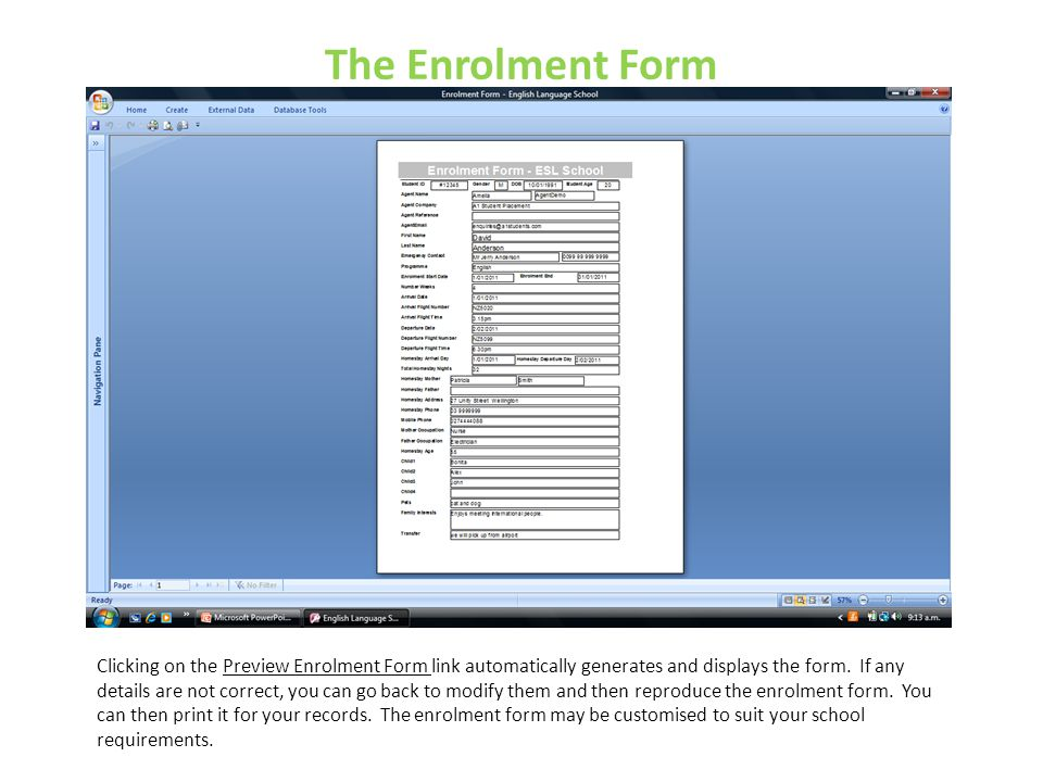 The Enrolment Form