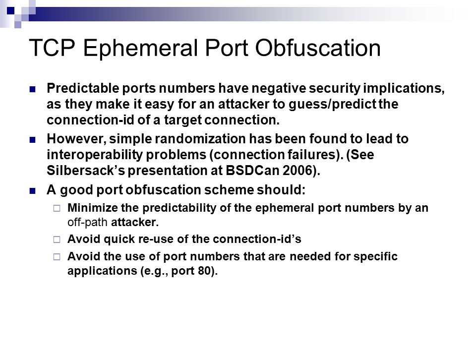 TCP Ephemeral Port Obfuscation