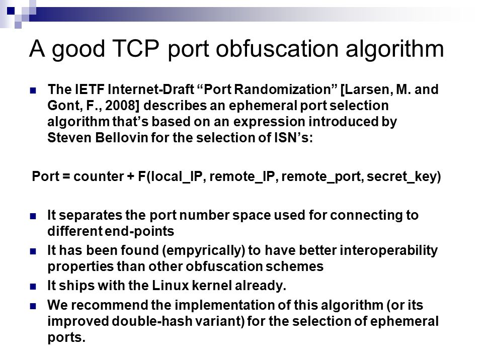 A good TCP port obfuscation algorithm