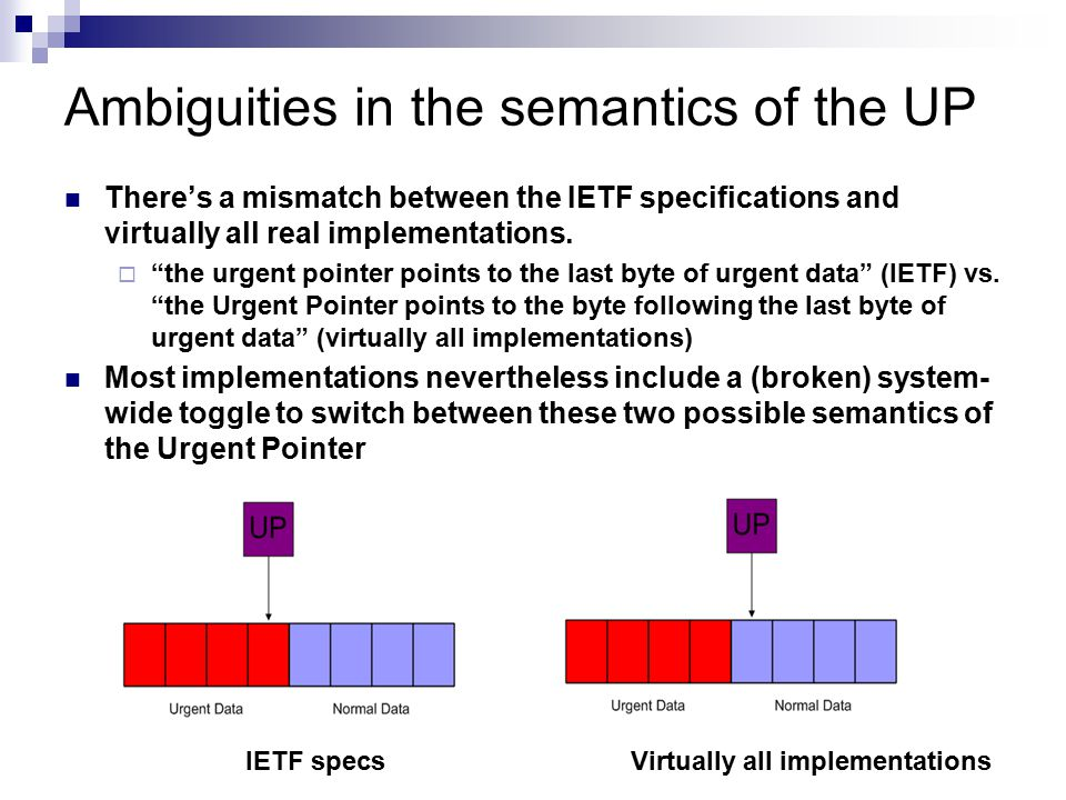 Ambiguities in the semantics of the UP