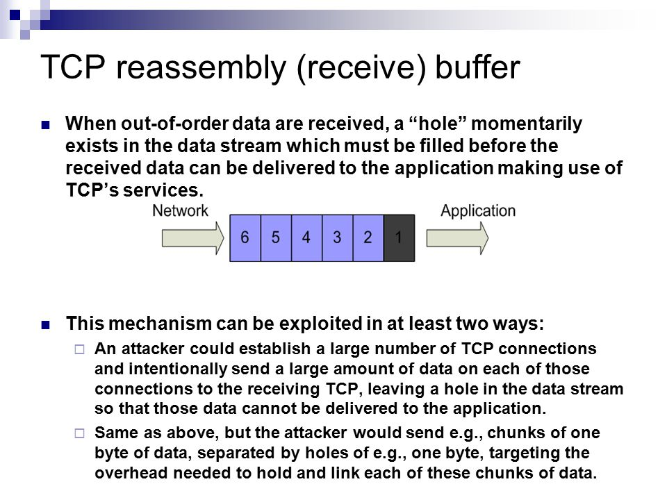 TCP reassembly (receive) buffer
