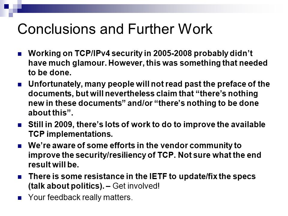 Conclusions and Further Work