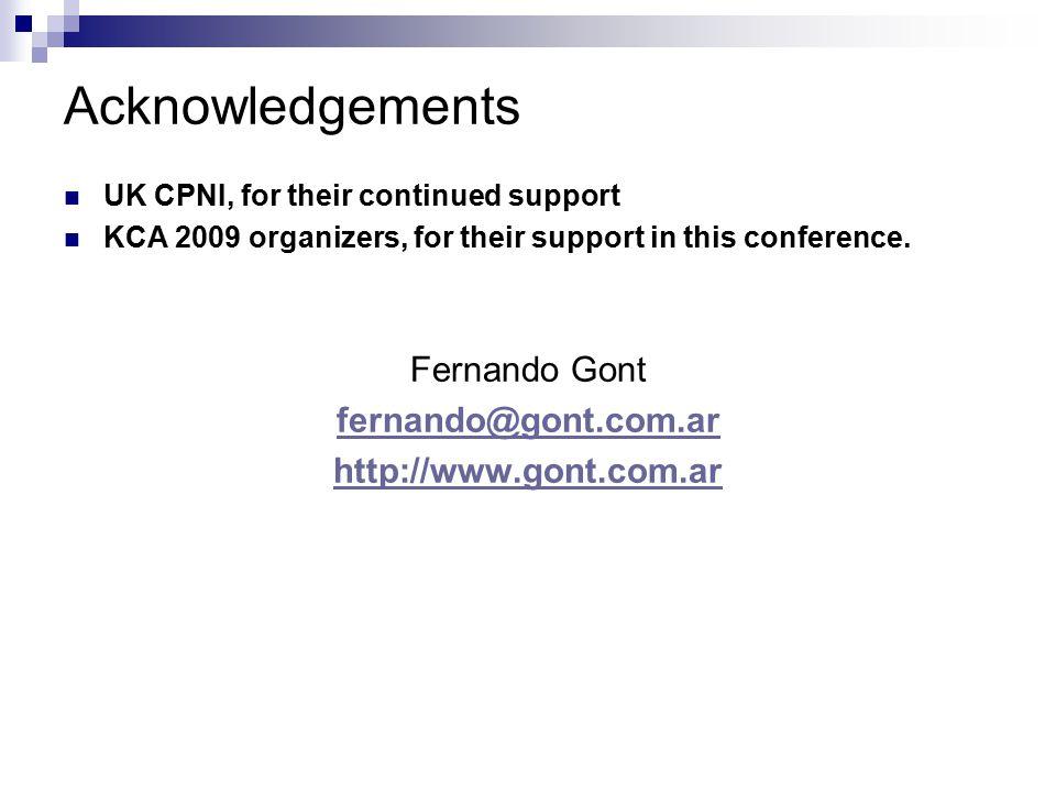 Acknowledgements Fernando Gont fernando@gont.com.ar