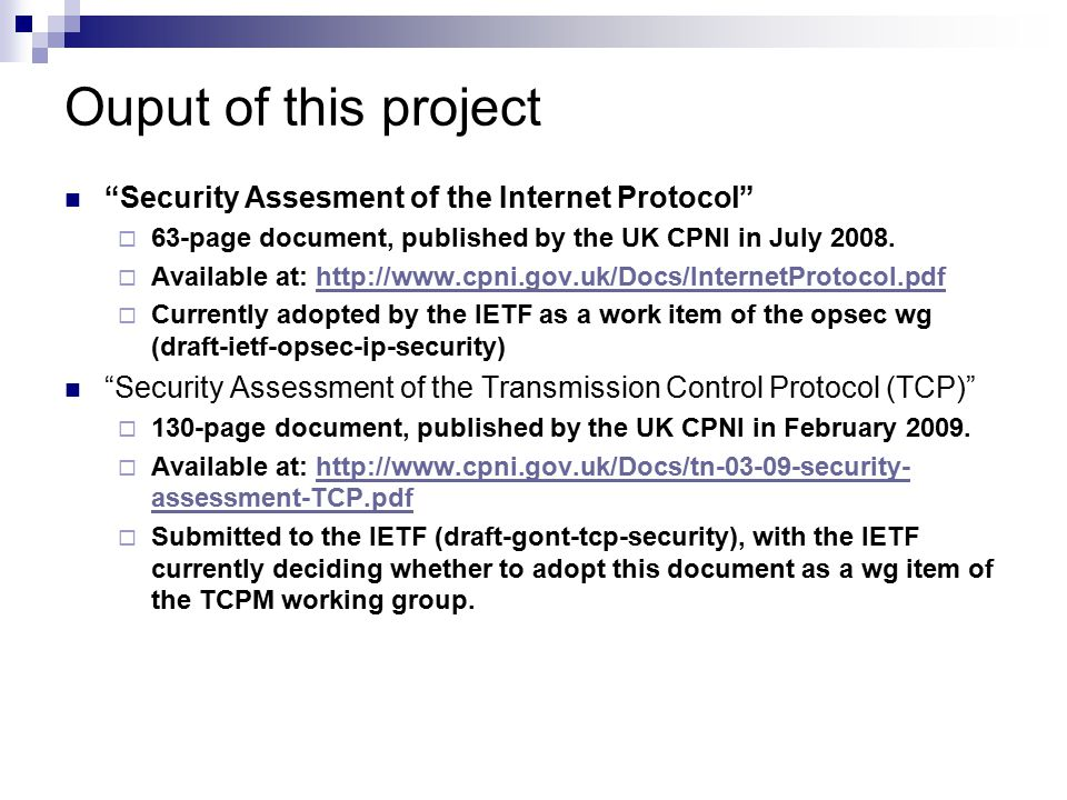 Ouput of this project Security Assesment of the Internet Protocol