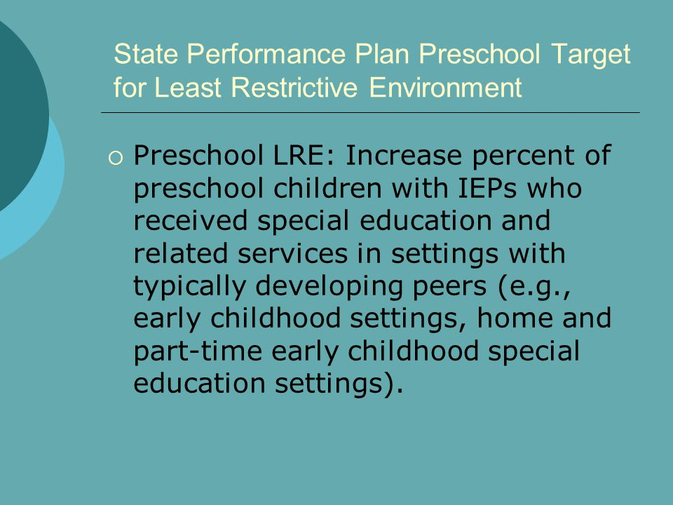 State Performance Plan Preschool Target for Least Restrictive Environment