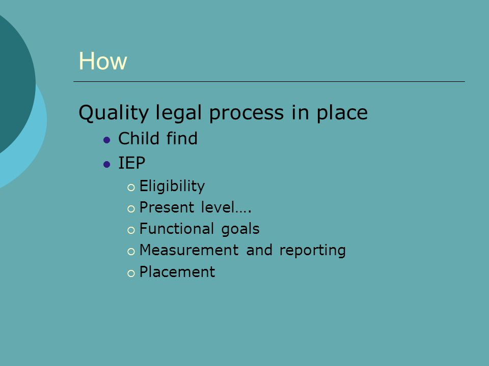 How Quality legal process in place Child find IEP Eligibility