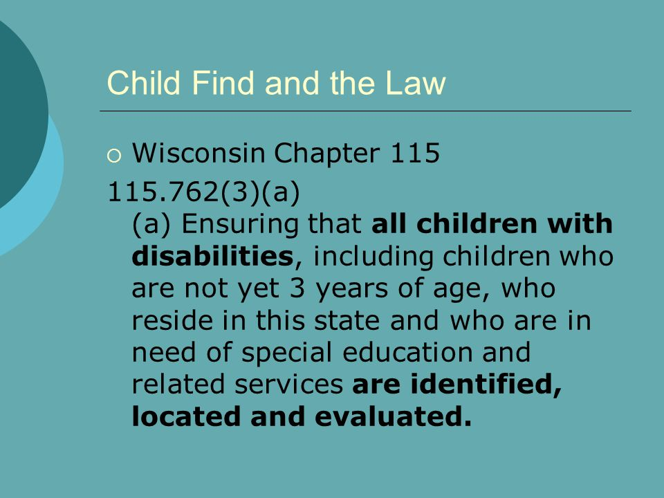 Child Find and the Law Wisconsin Chapter 115