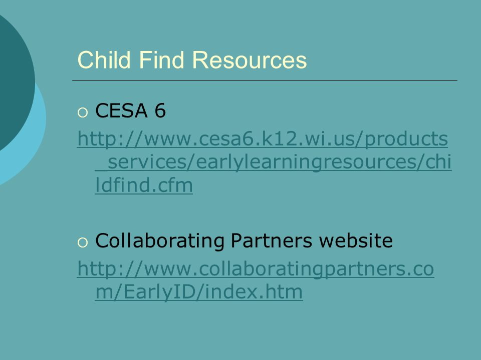 Child Find Resources CESA 6