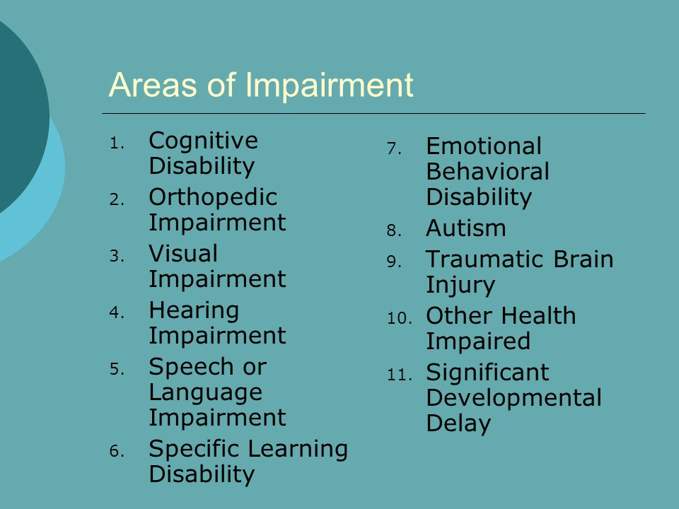 Areas of Impairment Cognitive Disability