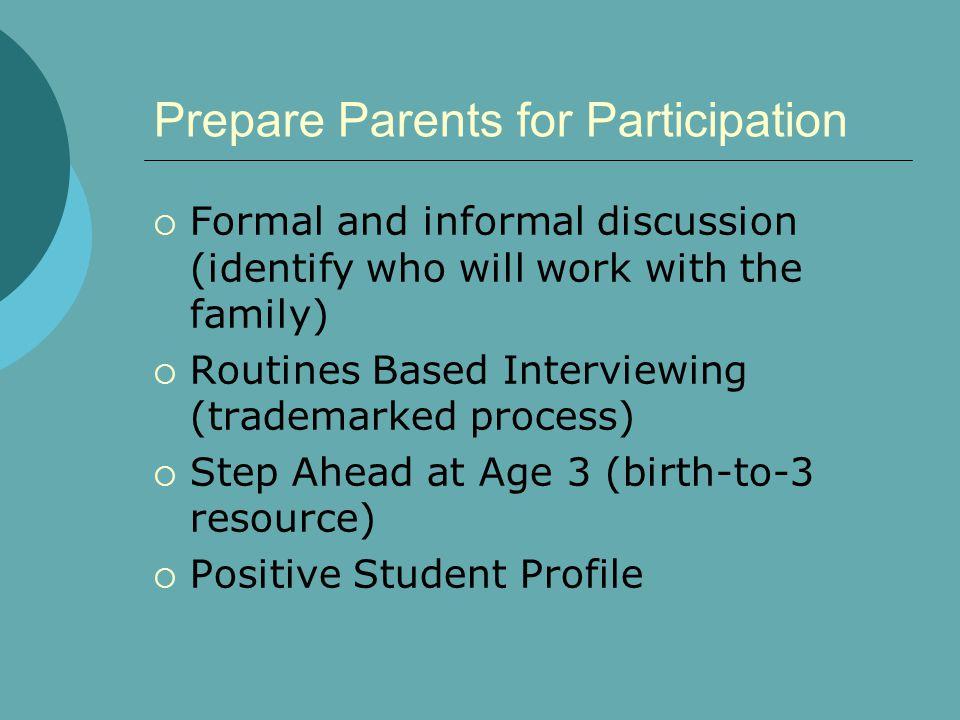 Prepare Parents for Participation