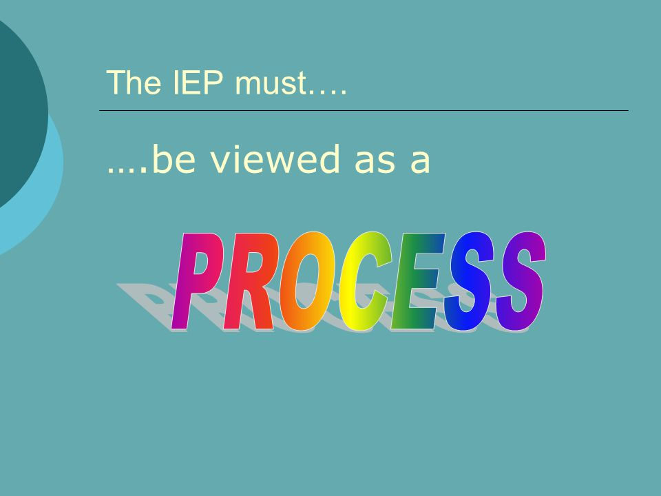 The IEP must…. ….be viewed as a PROCESS 9/5/03