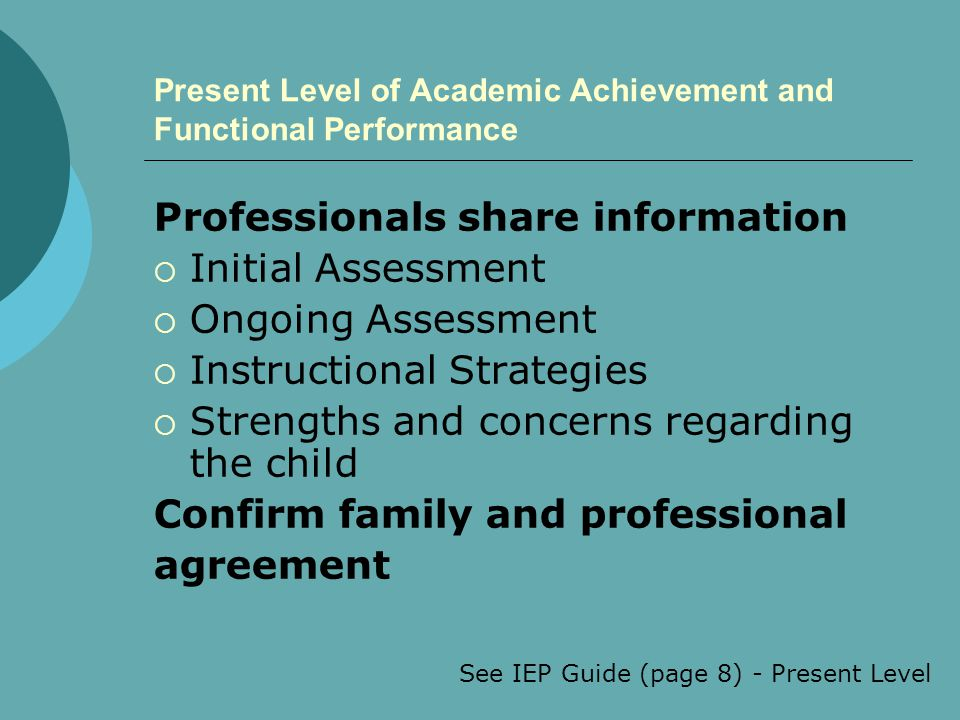 Present Level of Academic Achievement and Functional Performance