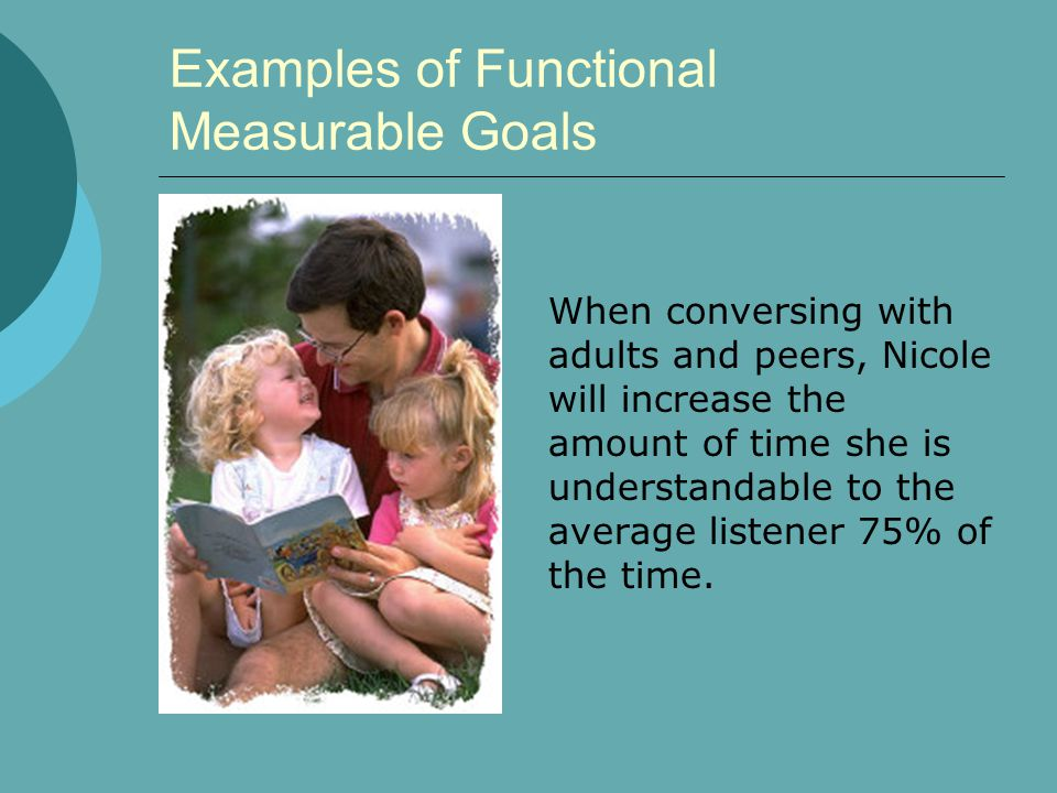 Examples of Functional Measurable Goals