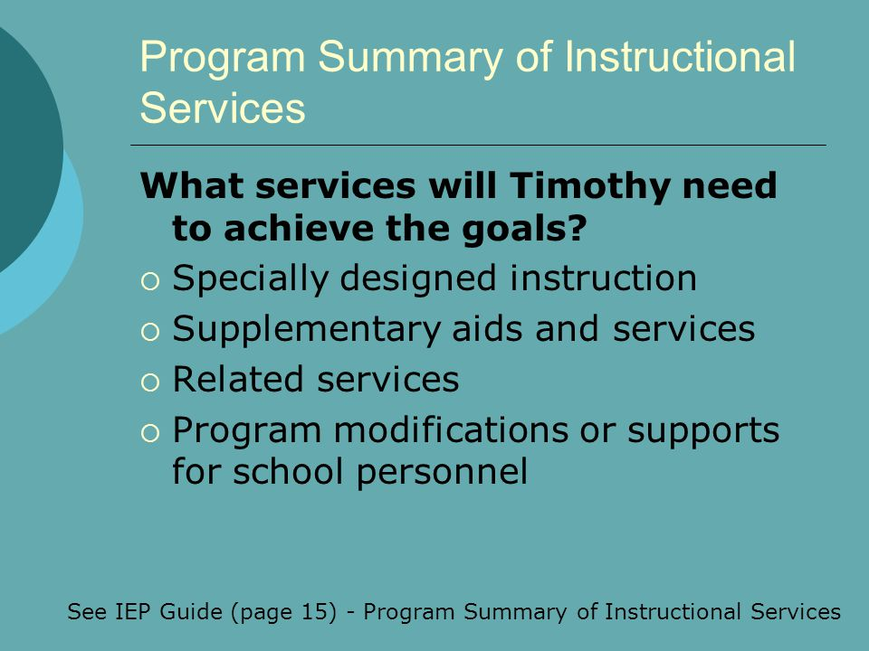 Program Summary of Instructional Services
