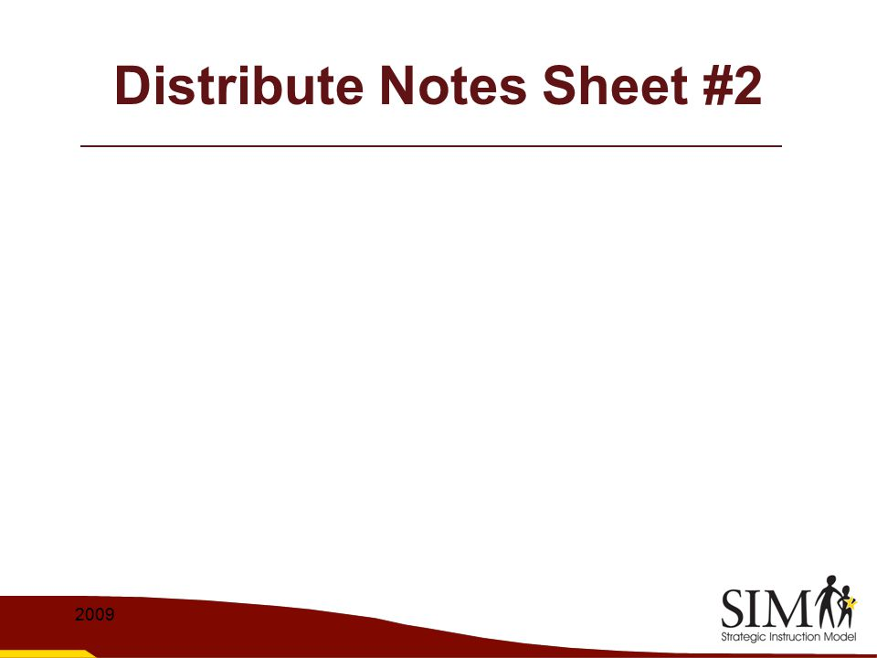 Distribute Notes Sheet #2
